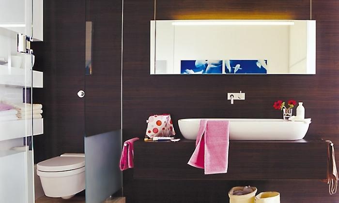 Зонирование ванной и кухни