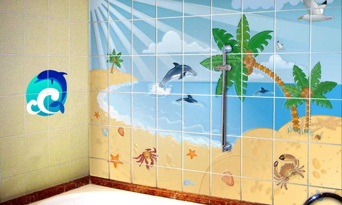 Покраска старой плитки в ванной