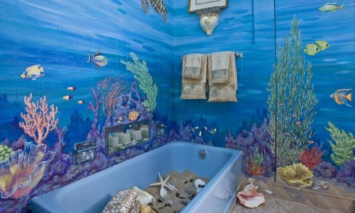 Украшение ванной комнаты муралью